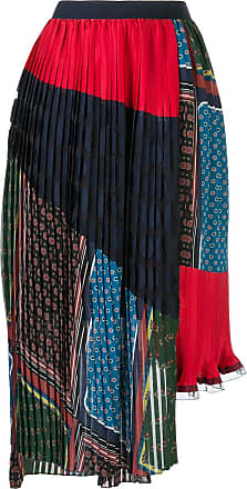 Kolor asymmetric multi-print pleated skirt - Red