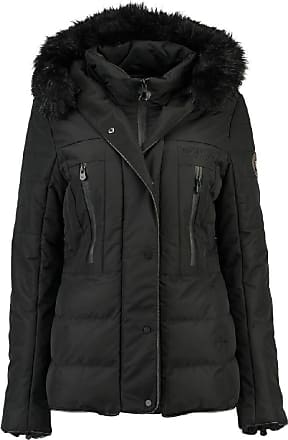 Geographical Norway Dionysos Womens Short Parka with Fur Hood - Black - 12