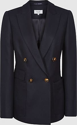 Reiss Larsson - Double Breasted Twill Blazer in Navy, Womens, Size 10