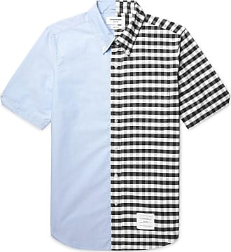 Thom Browne Slim-fit Button-down Collar Panelled Cotton Oxford Shirt - Blue