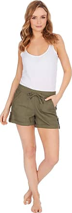 Lora Dora Womens Linen Shorts Khaki Short Length UK 12
