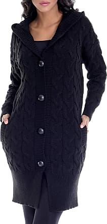 LEIF NELSON Ladies Cardigan Jacket Hood LN-10190 Black X-Large