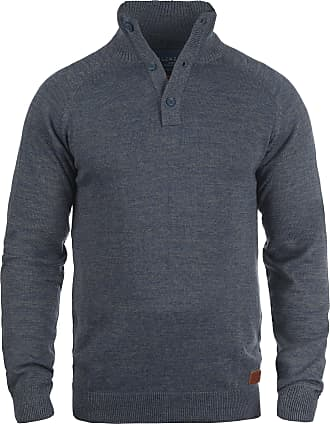 Blend Blend Danilo Fine Knit Mens Pullover Stand-Up Collar Pure Cotton Marl - Blue - 20