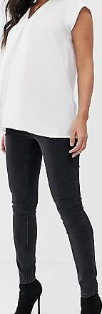 Asos Maternity ASOS DESIGN Maternity high rise ridley skinny jeans in washed black with under the bump waistband