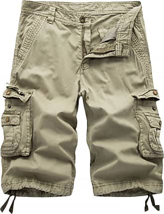 Inlefen Mens Plus Size Solid Color Relaxed Fit Cotton Shorts Casual Beach Multi-Pockets Half Length Short Pants(Khaki/38)