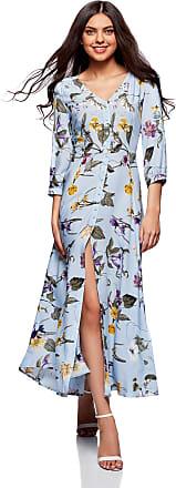 oodji Womens Button-Down Maxi Dress, Blue, UK 8 / EU 38 / S