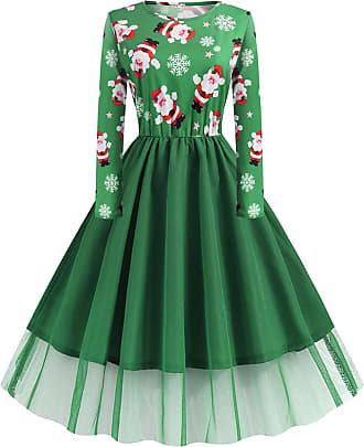FeelinGirl Women Cocktail Party Dress Christmas Skater Print Skirt Christmas Eve with Long Sleeve Round Neck High Waist Vintage Dress Green 3XL