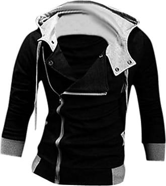 Jeansian Mens Casual Hooded Jacket Slim Fit Outerwear Sweatshirt Tops Coat Zip Sport 8945 Black XS