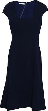 Oscar De La Renta Oscar De La Renta Woman Fluted Wool-crepe Dress Navy Size 10