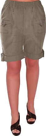 Eyecatch Skye Ladies Relaxed Comfort Elasticized Flexi Stretch Womens Shorts Plus Sizes Khaki Size 12