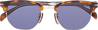 David Beckham Óculos de sol redondo com efeito tartaruga - Marrom