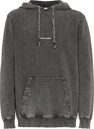 Saint Laurent distressed logo hoodie - Grey