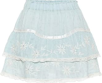 LoveShackFancy Tully lace-trimmed cotton miniskirt