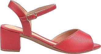 Eleganteria Sandália Feminina Napa Vermelha Salto Baixo Eleganteria Tamanho:35;Cor:Vermelho