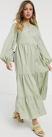 Asos cotton poplin tiered maxi dress with long sleeves in khaki-Green