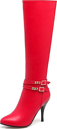 Vimisaoi Womens Pu Pointed Toe High Stiletto Heel- Rivets Buckle Deciration Dressy Sexy Knee High Boots Red