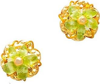 Tinna Jewelry Brinco Dourado Flor Pedras (Verde)