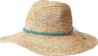 ále by Alessandra Womens Cody Crochet Raffia Sunhat Packable, Adjustable & UPF Rated, Natural/Turquoise, One Size