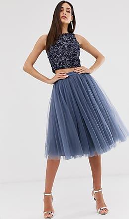 Little Mistress tulle midi prom skirt in lavender grey