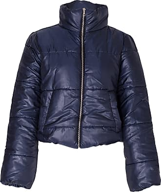 Noroze Womens Crop Jacket Padded Puffer Coat Cropped (Navy, 14)