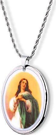 Design Medalhas Pingente Medalha Nossa Senhora Imaculada Conceição Ouro Branco 18k