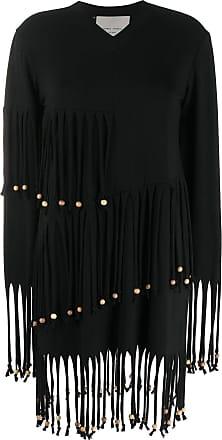 Frankie Morello Vestido com franja de contas - Preto