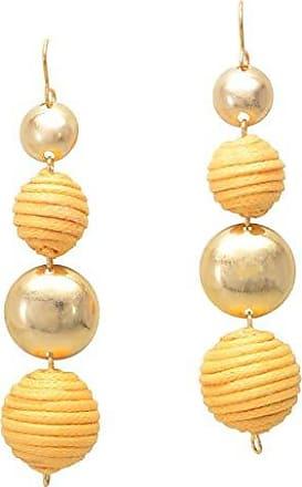 Tinna Jewelry Brinco Dourado Bolas Cobertas Grande (Amarelo)
