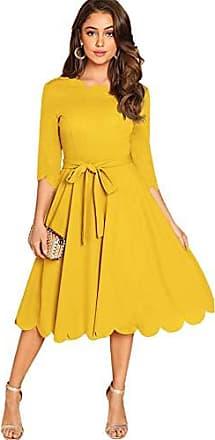 DIDK Damen Kleid Halbarm Vintage Partykleid Kleider Freizeitkleid Sommerkleider Skaterkleid mit Perlen