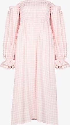 Sleeper Womens White Atlanta Pouf Sleeve Gingham Dress