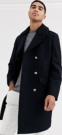 Burton Menswear wool military coat in navy