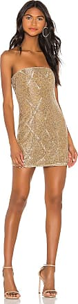 X by NBD Jean Embellished Mini Dress in Metallic Gold