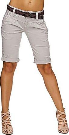 f3957565b941d2 Sublevel Damen Cuba Chino Shorts Bermuda kurze Hose inkl. Gürtel  D6053Z600800IZ Light Grey L