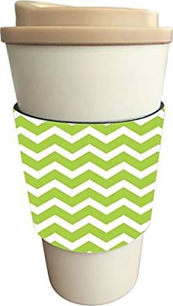 Rikki Knight Chunky Chevron Lime Green Zig Zag Design Latte Beverage Insulator, Black