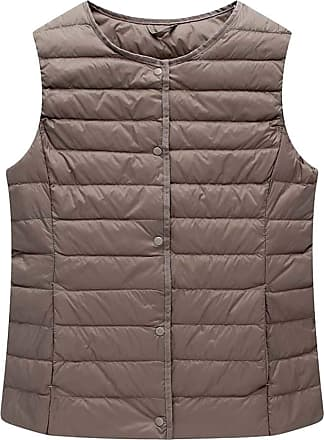 ICEGREY Womens Collarless Lightweight Gilet Quilted Zip Vest Khaki 16
