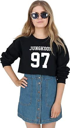 Sanfran Clothing Sanfran - Jungkook 97 Kpop Fangirl Jungshook Jimin Cropped Jumper Sweater - Small/Black