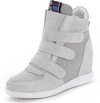 Jamron Womens Fashion Hidden Heel Wedge Sneakers Elevator Shoes Comfortable Suede&Fabric Trainers Grey 4791 UK5.5