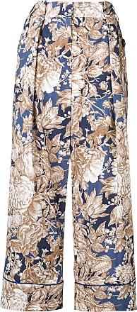 Max Mara Axe floral print trousers - Azul