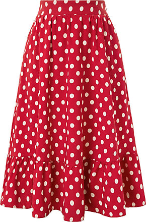 Belle Poque 50s Women Casual Style Comfy Knee Length Tea Party Cocktail Skirts with Side Pockets Red 2054 XL