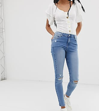 Urban Bliss high waist skinny jean with distressed hem detail-Blue