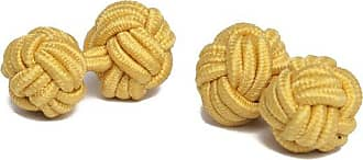 Jacob Alexander Pair of Solid Color Silk Knot Cufflinks - Bright Gold