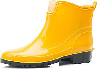 Ladeheid Womens Ankle Rubber Wellington Boots LA-930 (Yellow, 4.5 UK)