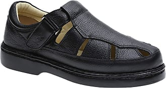 Doctor Shoes Antistaffa Sandália Masculina 320 em Couro Floater Preto Doctor Shoes-Preto-37