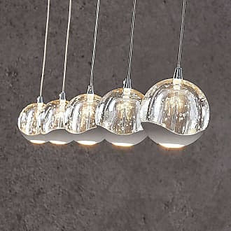 Lucande Lámpara colgante LED Hayley, 5 luces lineal cromo