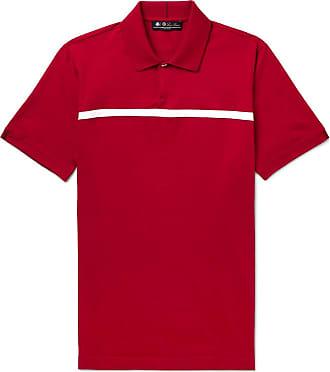 Loro Piana 28matches Striped Jersey Golf Polo Shirt - Red
