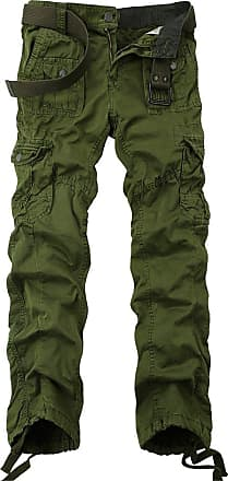 OCHENTA Ochenta mens loose-fit casual trousers water scrubbing cargo pants with multiple pockets made of cotton, Army Green, 38