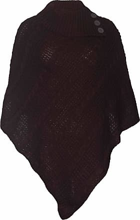 Purple Hanger Womens Cape Shawl Wrap Long Knitted Sweater Folded Roll Neck Button Jumper Ladies Poncho Top One Size Dark Brown One Size 8 - 16