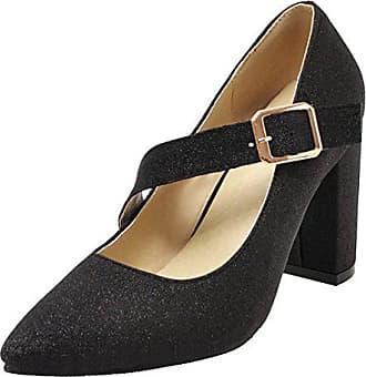 11763858a3c307 Aiyoumei Damen Mary Jane Shoes Glitzer Pumps mit Schnalle und Blockabsatz  Elegant Schuhe