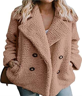 FNKDOR Womens Casual Solid Wool Jacket Winter Warm Parka Ladies Coat Overcoat Outercoat(Khaki,L