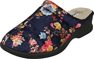 Padders Celine Ladies Velour Extra Wide (2E) Mule Slippers Navy Floral UK 5
