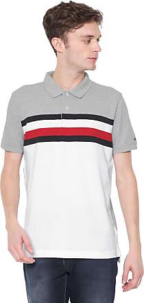 d59e2ce112 Tommy Hilfiger Camisa Polo Tommy Hilfiger Reta Listras Cinza Branca